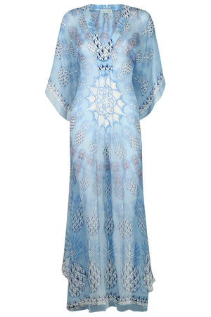 Lotty B Long Kaftan in Chiffon: PINEAPPLE - BLUE