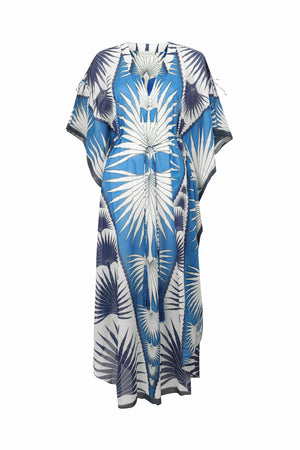 Lotty B Long Kaftan in Cotton: FAN PALM - BLUE