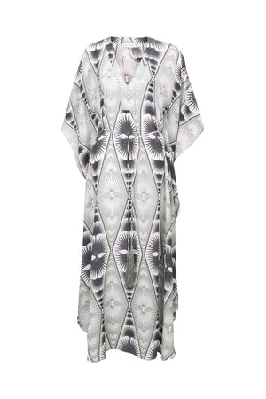 Lotty B Long Kaftan in Silk Crepe-de-Chine: FAN PALM - BLACK & WHITE