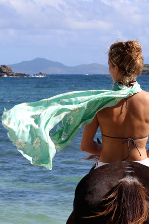 Lotty B Silk Charmeuse Long Scarf (Sand Dollar Repeat Green) Mustique riding