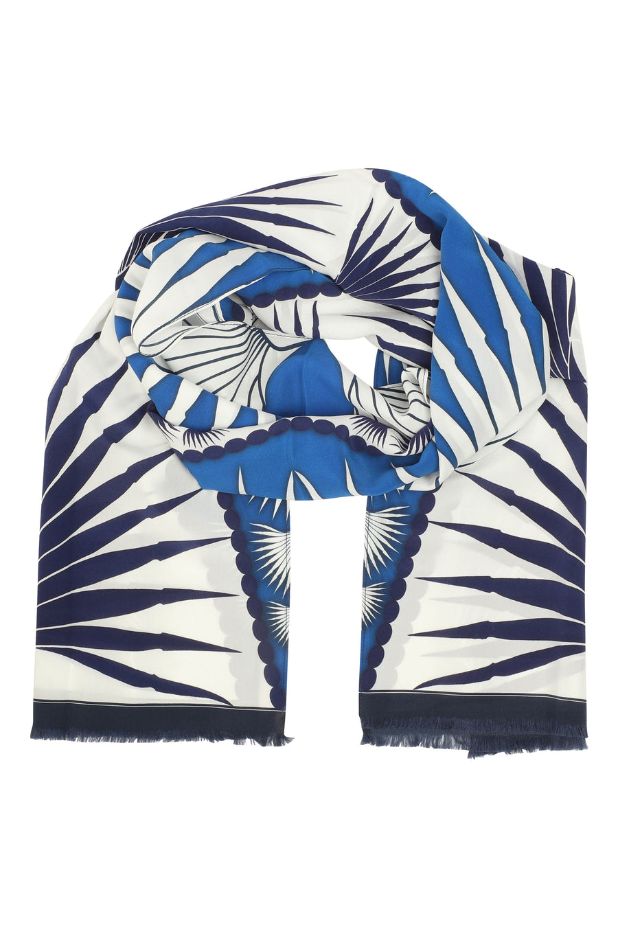Lotty B Silk Long Silk Scarf: FAN PALM - BLUE, wrap around as head scarf - Mustique island style
