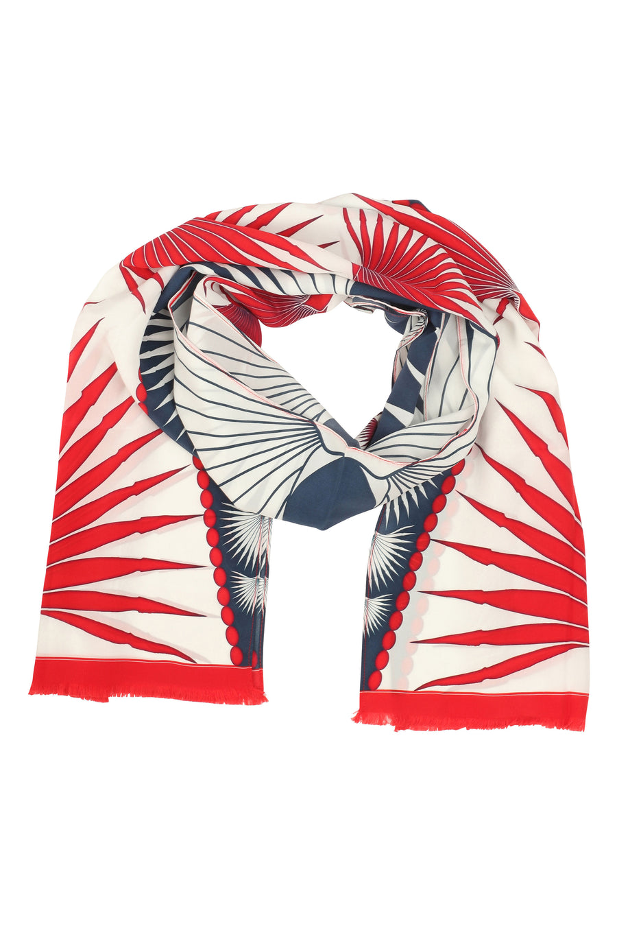 Lotty B Silk Long Silk Scarf: FAN PALM - RED Mustique beach life - luxury resortwear, designer Lotty B.