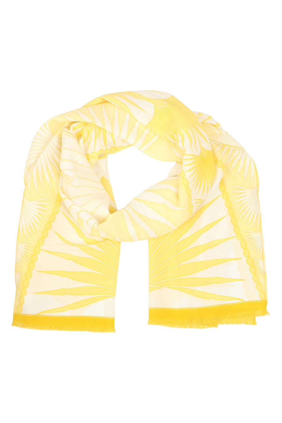 Lotty B Silk Long Silk Scarf: FAN PALM - YELLOW worn with yellow Fan Palm bikini. Luxury resortwear, designer Lotty B Mustique
