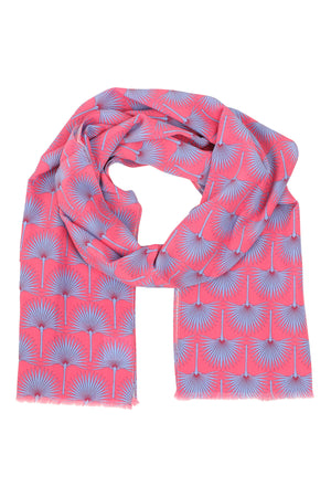 Lotty B Silk Long Silk Scarf: SINGLE PALM REPEAT - PINK / BLUE. Luxury resortwear, designed by Lotty B Mustique