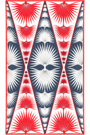Sarong in Silk Crepe-de-Chine: FAN PALM - NAVY / RED