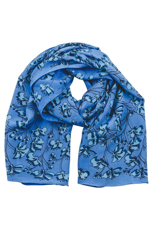 Lotty B Scarf / Sarong in Silk Crepe-de-Chine: FLAMBOYANT FLOWER - BLUE designer Lotty B Mustique