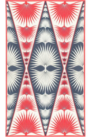 Sarong in Silk Chiffon: FAN PALM - NAVY / RED flat