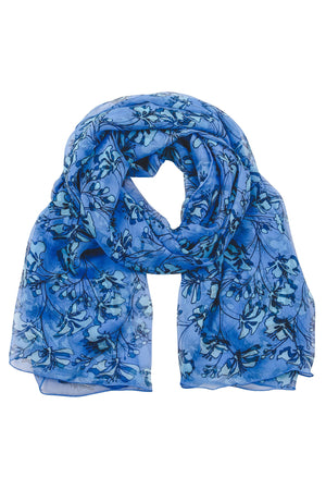 Lotty B Sarong / Scarf in Silk Chiffon: FLAMBOYANT FLOWER - BLUE designer Lotty B Mustique