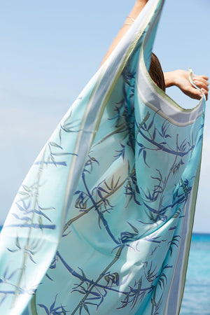Pure silk scarf blue bamboo print by Lotty B Mustique luxury island fashion