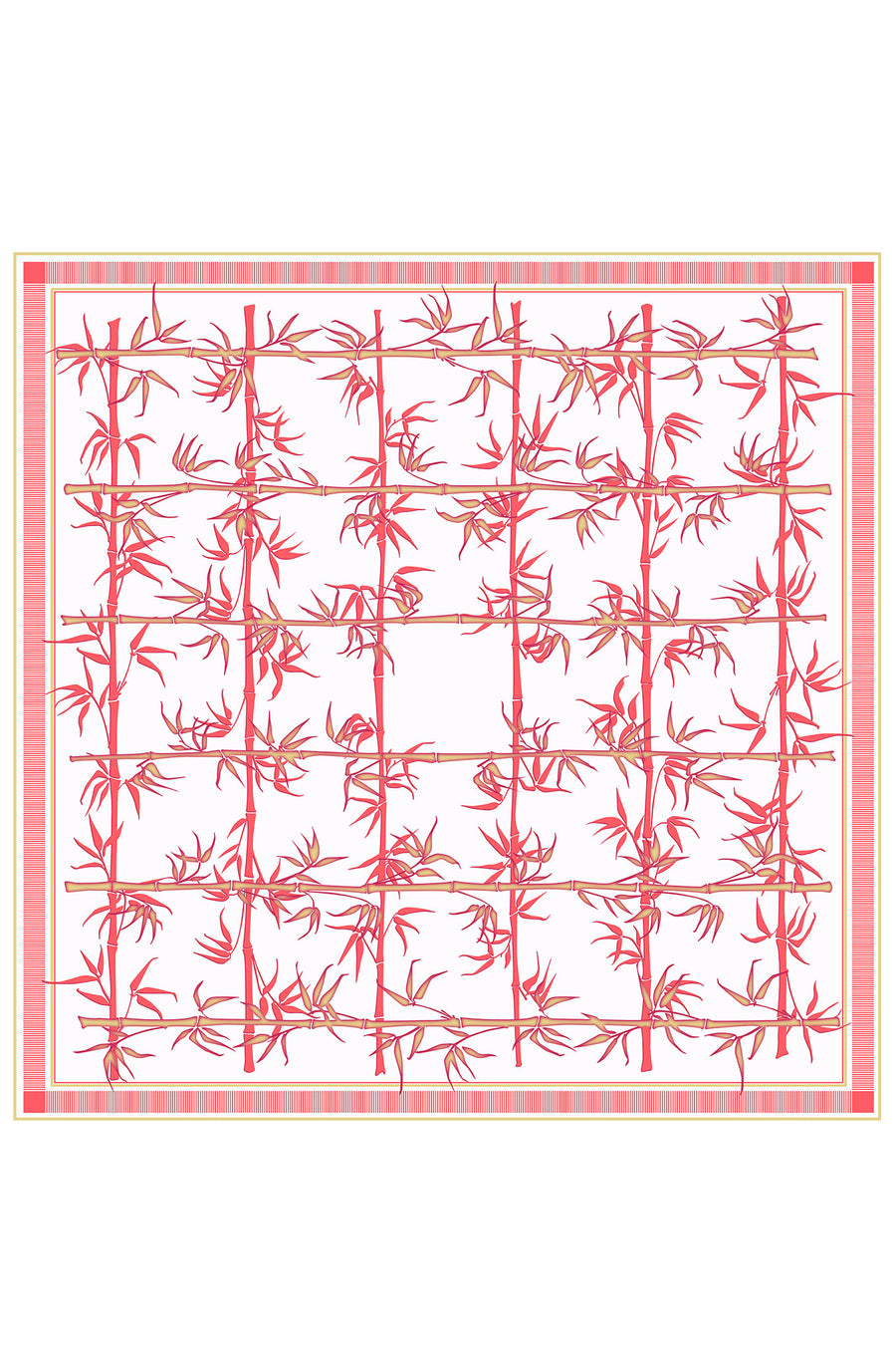 Lotty B Silk Charmeuse Square Scarf (Bamboo Red) Mustique head scarf