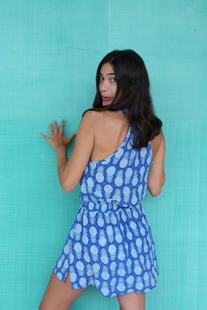 Lotty B Short Halter Neck Dress in Silk Crepe-de-Chine: PINEAPPLE - BLUE back Mustique Marina