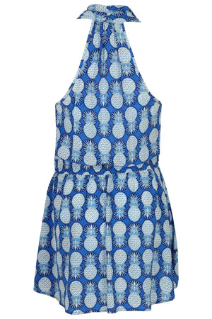 Lotty B Short Halter Neck Dress in Silk Crepe-de-Chine: PINEAPPLE - BLUE back