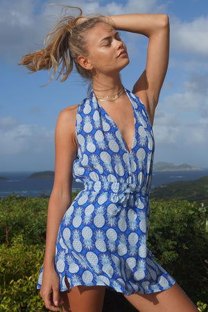 Lotty B Short Halter Neck Dress in Silk Crepe-de-Chine: PINEAPPLE - BLUE Mustique life Ella Ross