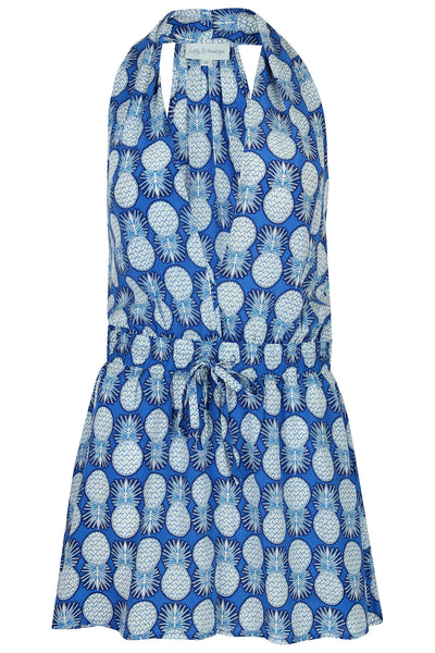 Lotty B Short Halter Neck Dress in Silk Crepe-de-Chine: PINEAPPLE - BLUE front