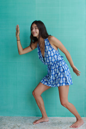 Lotty B Short Halter Neck Dress in Silk Crepe-de-Chine: PINEAPPLE - BLUE side Mustique Marina