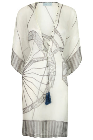 Lotty B Short Kaftan in Chiffon: BICYCLE - BLACK & WHITE