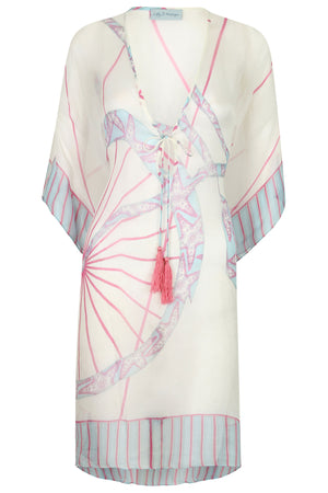 Lotty B Short Kaftan in Chiffon: BICYCLE - PINK