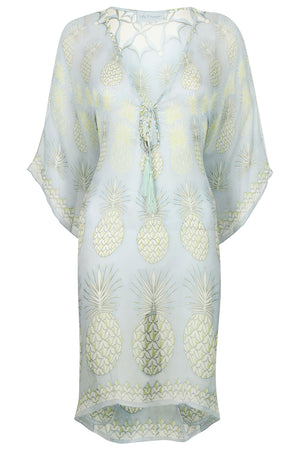 Lotty B Short Kaftan in Chiffon: PINEAPPLE - OLIVE