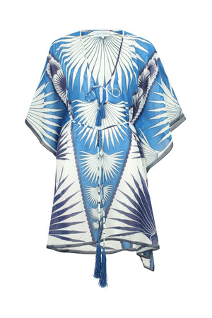 Lotty B Short Kaftan in Cotton : FAN PALM - BLUE / WHITE