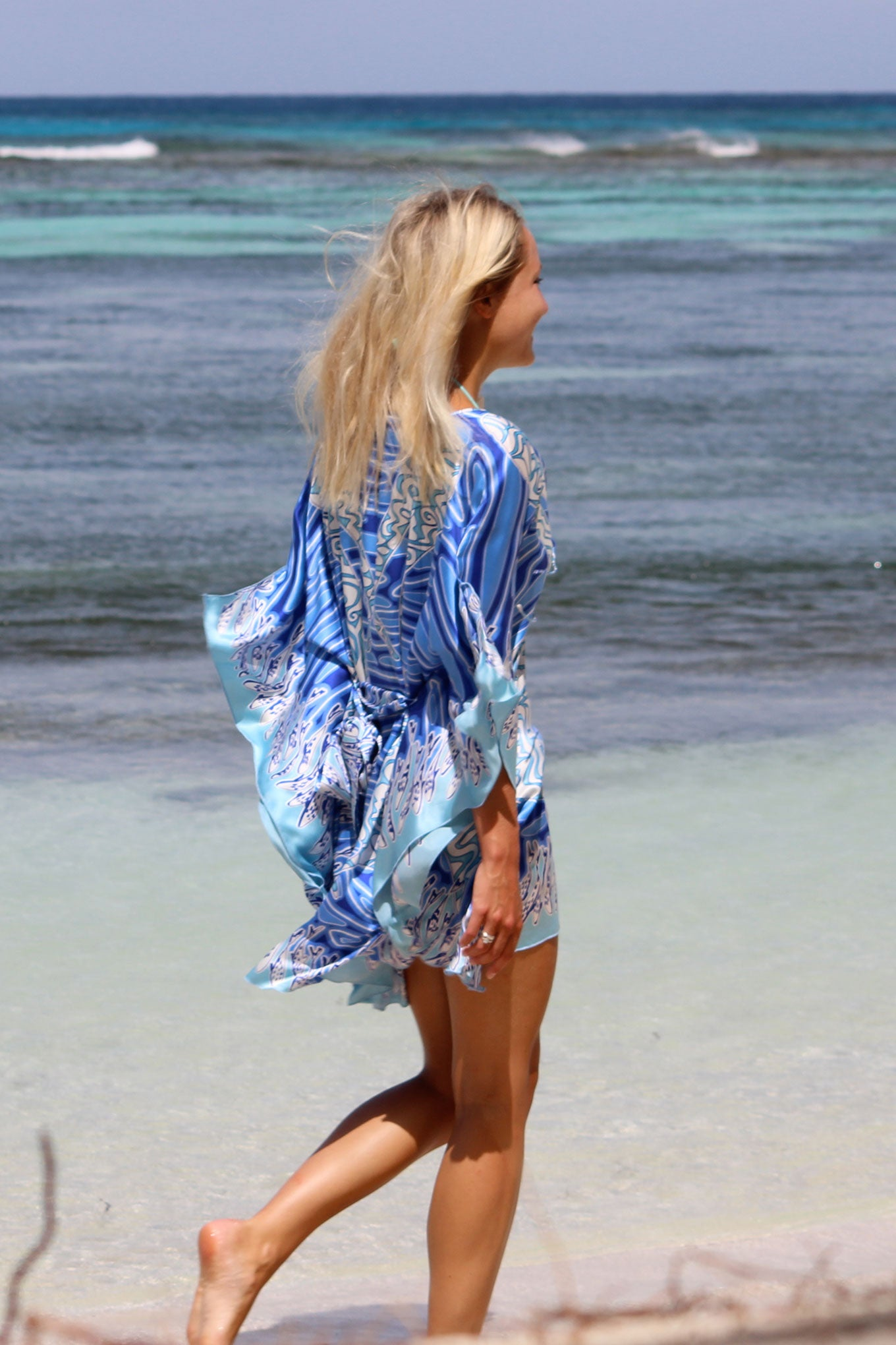 Lotty B Short Kaftan ~ Pelican (Blue)