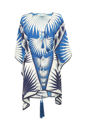Lotty B Short Kaftan in Silk Crepe-de-Chine: FAN PALM - BLUE / WHITE