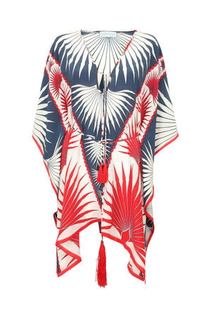 Lotty B Short Kaftan in Silk Crepe-de-Chine: FAN PALM - NAVY / RED