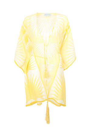Lotty B Short Kaftan in Silk Crepe-de-Chine: FAN PALM - YELLOW / WHITE