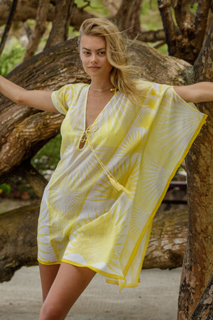 Lotty B Short Kaftan in Cotton : FAN PALM - YELLOW / WHITE Mustique style