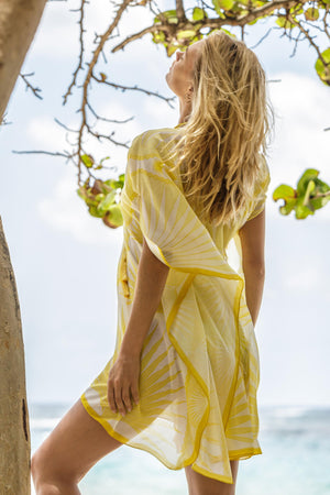 Lotty B Short Kaftan in Cotton : FAN PALM - YELLOW / WHITE Mustique cover-up