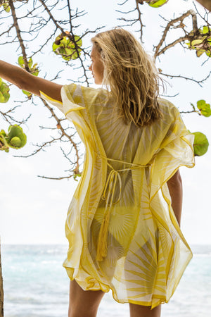 Lotty B Short Kaftan in Cotton : FAN PALM - YELLOW / WHITE back