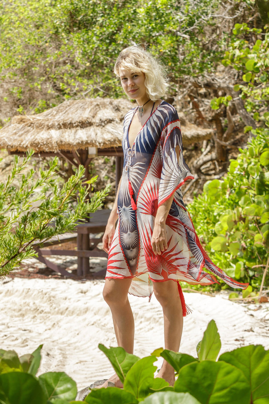 Lotty B Short Kaftan in Silk Chiffon: FAN PALM - NAVY / RED Mustique lifestyle