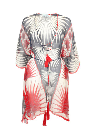 Lotty B Short Kaftan in Silk Chiffon: FAN PALM - NAVY / RED