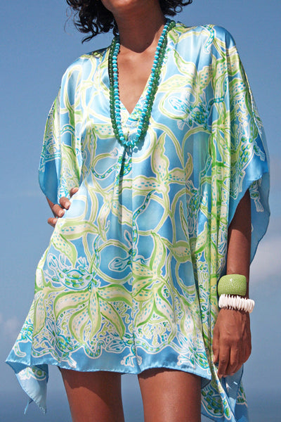 Lotty B Short Kaftan in Silk Charmeuse (Gecko & Vines, blue/green) Front