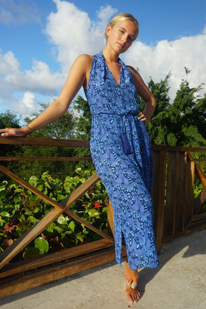 Silk Jemima Dress: FLAMBOYANT FLOWER - BLUE, long halter neck racer back crepe de chine silk dress designer Lotty B Mustique chic resort wear