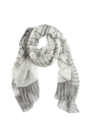 Lotty B Sarong in Silk Chiffon: BICYCLE - BLACK & WHITE scarf