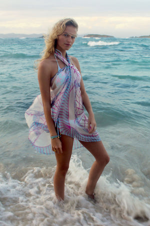 Lotty B Sarong in Silk Chiffon: BICYCLE - PINK Mustique life