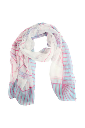 Lotty B Sarong in Silk Chiffon: BICYCLE - PINK scarf