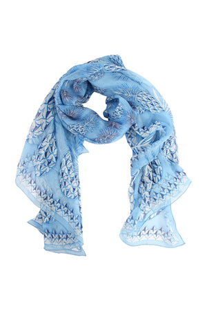 Lotty B Sarong in Silk Chiffon: PINEAPPLE - BLUE scarf