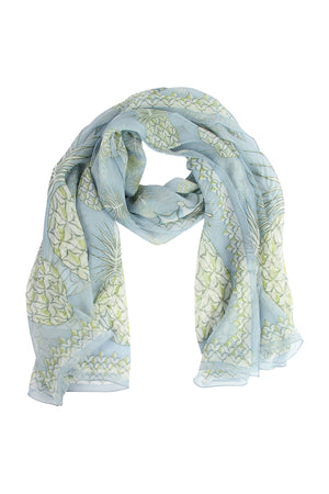 Lotty B Sarong in Silk Chiffon: PINEAPPLE - OLIVE scarf