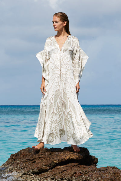 Lotty B Long Kaftan in Silk (Leaves Lichen)