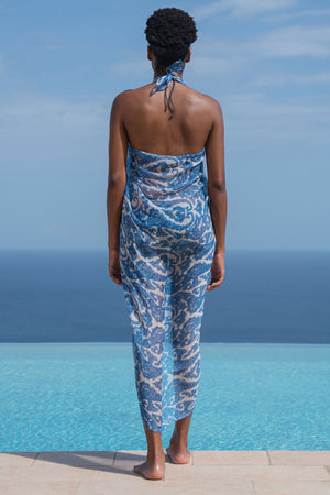 Lotty B Sarong in Silk Chiffon (Seahorse, Blue) Back