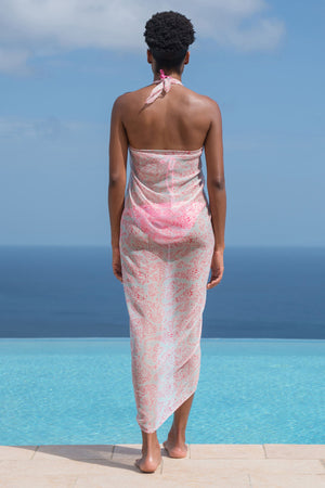 Lotty B Sarong in Silk Chiffon (Seahorse, Pink) Back
