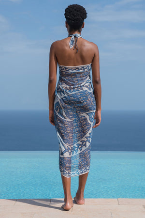 Lotty B Sarong in Silk Chiffon (Shark, Grey) Back