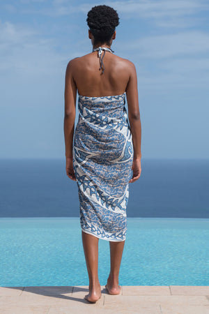 Lotty B Sarong in Silk Crepe-de-Chine (Shark, Grey) Back