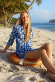 Lotty B Flared Dress in Silk Crepe-de-Chine: PINEAPPLE - BLUE Mustique beach