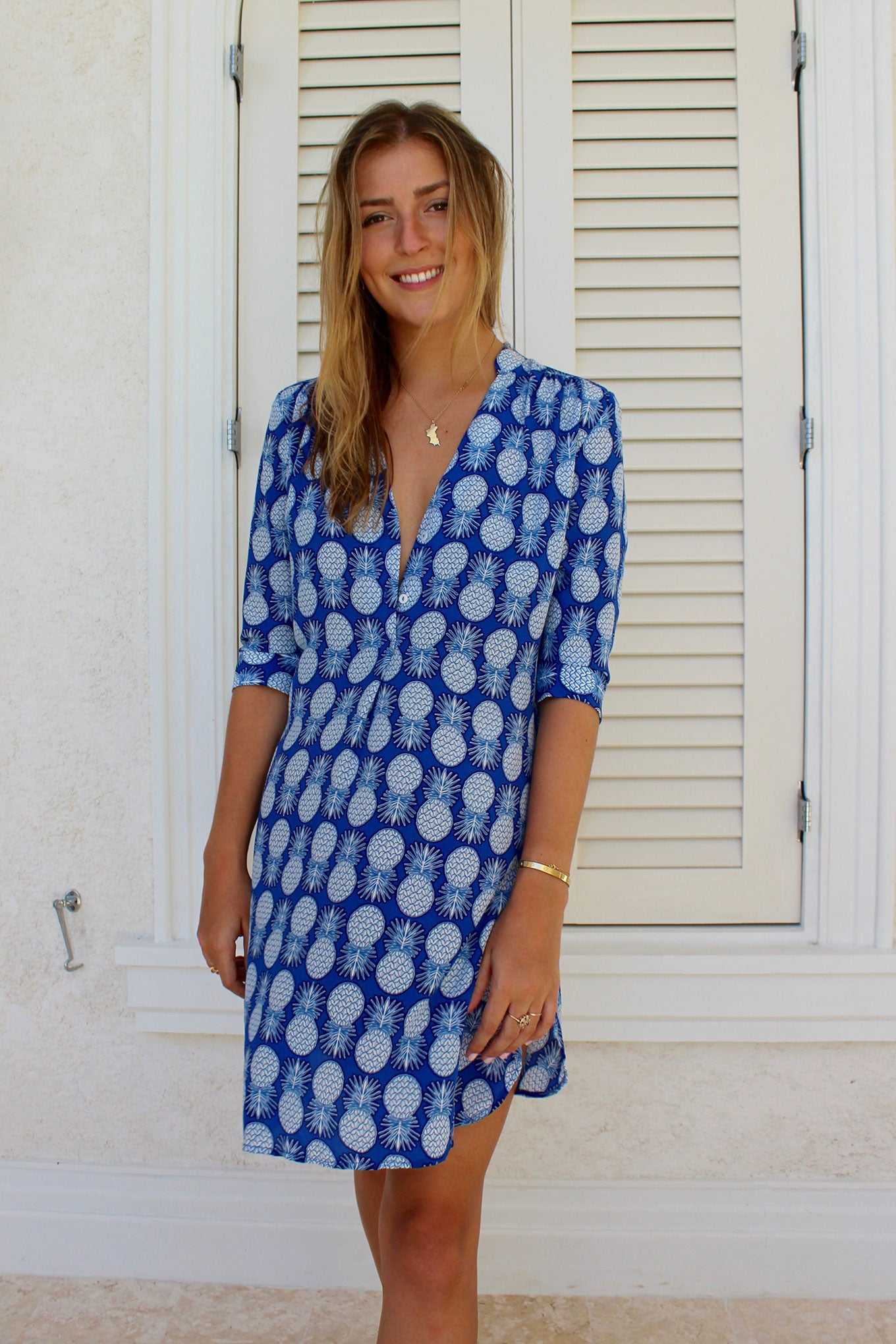 Lotty B Flared Dress in Silk Crepe-de-Chine: PINEAPPLE - BLUE Mustique life