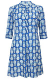 Lotty B Flared Dress in Silk Crepe-de-Chine: PINEAPPLE - BLUE