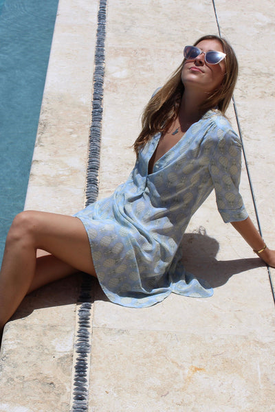 Lotty B Flared Dress in Silk Crepe-de-Chine: PINEAPPLE - OLIVE Mustique life
