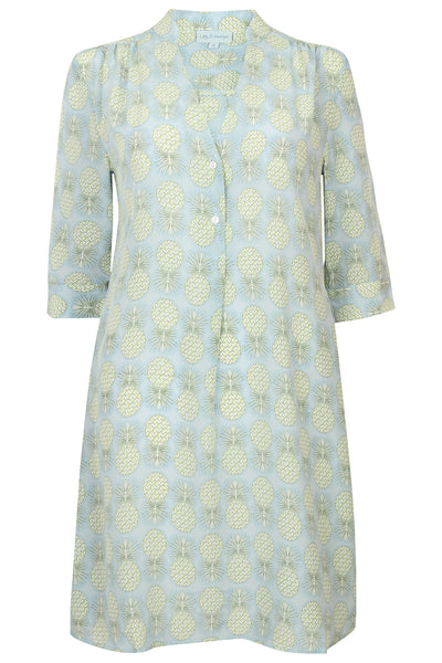 Lotty B Flared Dress in Silk Crepe-de-Chine: PINEAPPLE - OLIVE