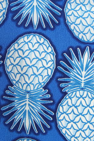 Lotty B Silk Crepe-de-Chine Long Scarf PINEAPPLE REPEAT - BLUE